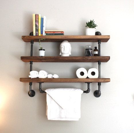 Bathroom organization ideas with industrial pipe shelves