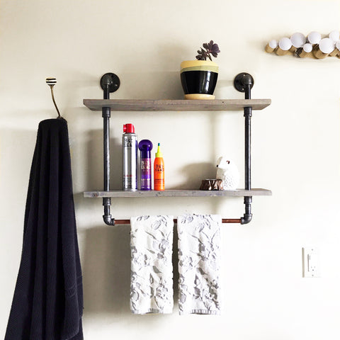 Steampunk towel holder and shelves for bathroom storage