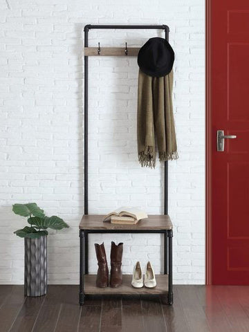 Entryway shoe and coat organizer made of black steel pipes