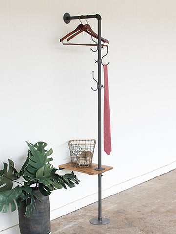 Industrial pipe coat rack and table for modern foyer and entryway decor
