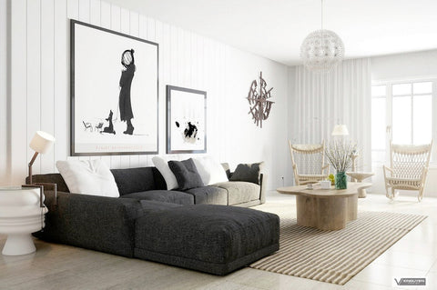 industrial style decor and sofa