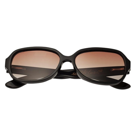 Bertha Payton Buffalo-Horn Polarized Sunglasses - Black/Black BRSBR002B