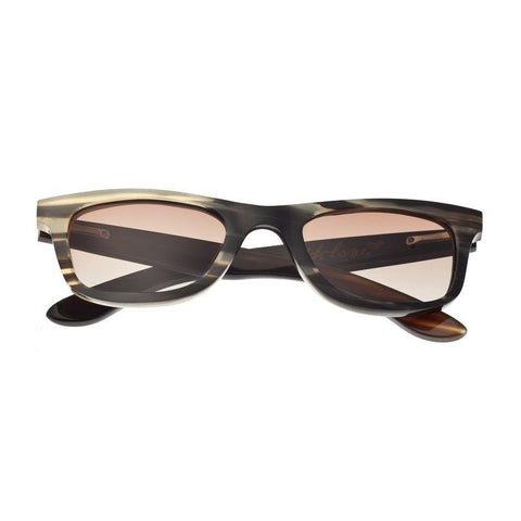 Bertha Zoe Buffalo-Horn Polarized Sunglasses - Black-Tan/Black BRSBR008M