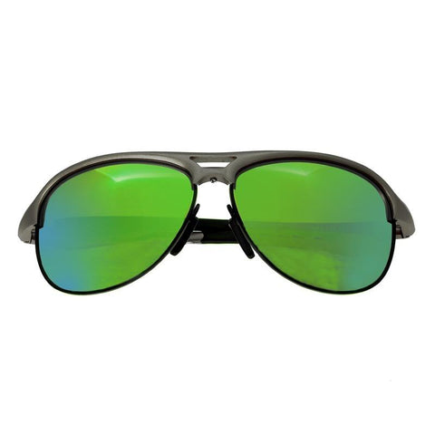 Breed Jupiter Aluminium Polarized Sunglasses - Silver/Blue-Green BSG019SR