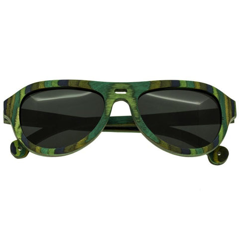 Spectrum Lopez Wood Polarized Sunglasses - Green Stripe/Black SSGS111BK