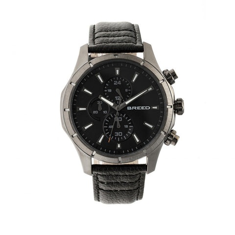 Breed Lacroix Chronograph Leather-Band Watch - Gunmetal/Black
