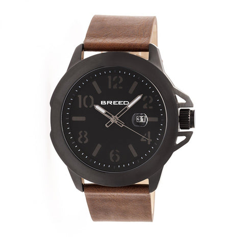 Breed Bryant Leather-Band Watch w/Date - Black/Brown