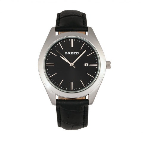 Breed Louis Leather-Band Watch w/Date - Silver/Black/Black