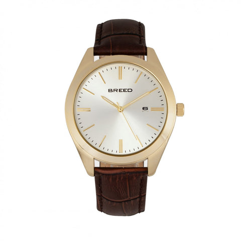 Breed Louis Leather-Band Watch w/Date - Gold/Brown/Silver