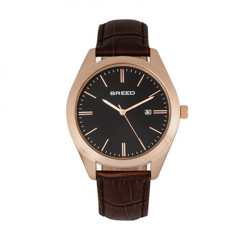 Breed Louis Leather-Band Watch w/Date - Brown/Rose Gold BRD7906