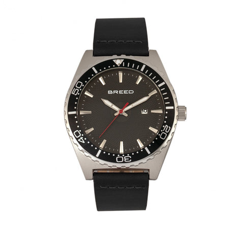 Breed Ranger Leather-Band Watch w/Date - Silver/Black