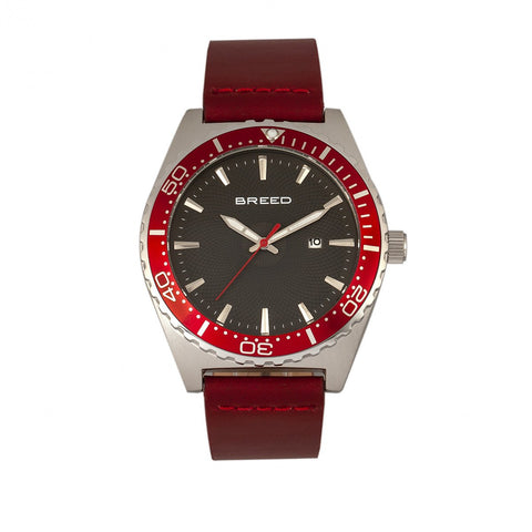 Breed Ranger Leather-Band Watch w/Date - Silver/Red