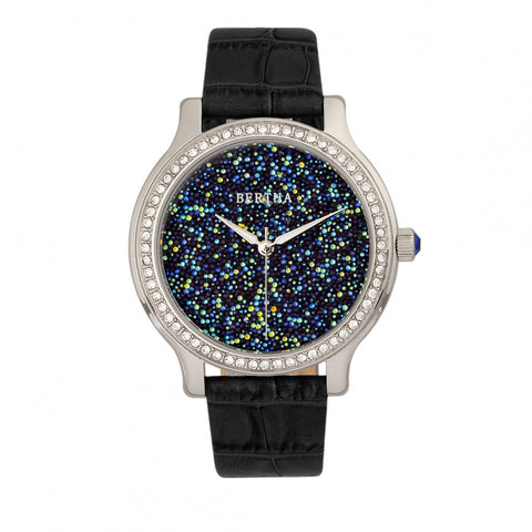 Bertha Cora Crystal-Encrusted Leather-Band Watch - Black