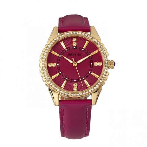 Bertha Clara Leather-Band Watch - Hot Pink
