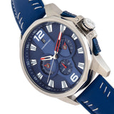 Morphic M82 Series Chronograph Leather-Band Watch w/Date - Silver/Blue MPH8203