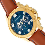 Morphic M73 Series Chronograph Leather-Band Watch - Gold/Blue MPH7304