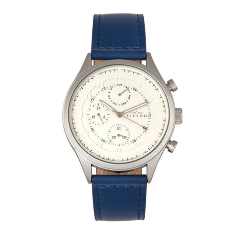 Elevon Lindbergh Leather-Band Watch w/Day/Date -  Blue/White
