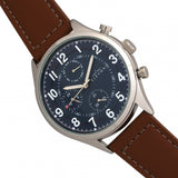 Elevon Lindbergh Leather-Band Watch w/Day/Date -Brown/Navy ELE102-3