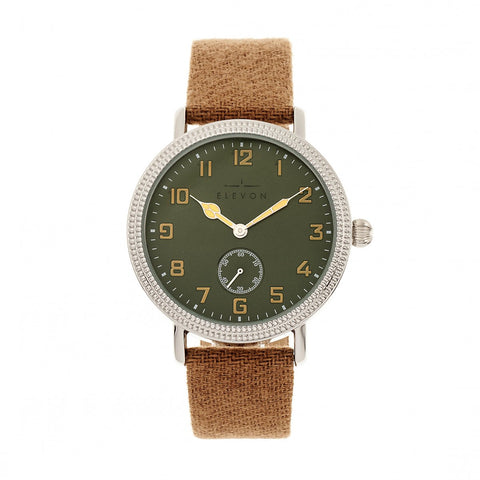 Elevon Northrop Leather-Band Watch - Camel/Green ELE110-5