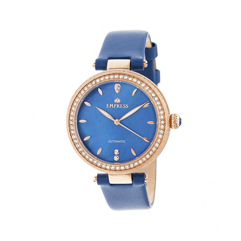 Empress Louise Mother-Of-Pearl Leather-Band Watch - Blue