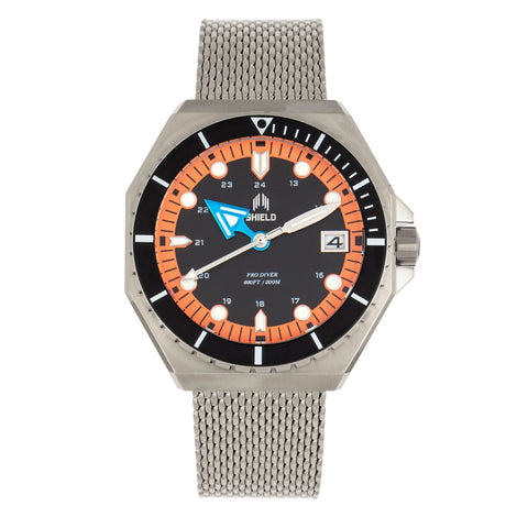 Shield Marius Bracelet Men's Diver Watch w/Date - Silver/Orange SLDSH103-3