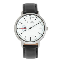 Simplify The 6500 Leather-Band Watch - Black/White
