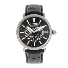 Heritor Automatic Mattias Leather-Band Watch w/Date - Silver/Black