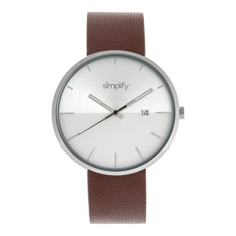 Simplify The 6400 Leather-Band Watch w/Date - Silver/Brown SIM6402
