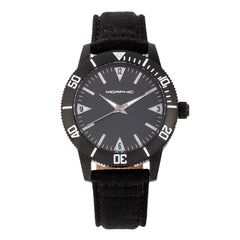 Morphic M85 Series Canvas-Overlaid Leather-Band Watch - Black