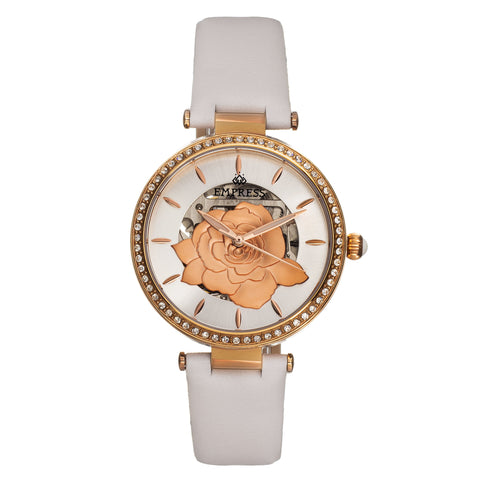 Empress Anne Automatic Semi-Skeleton Leather-Band Watch - White EMPEM3104