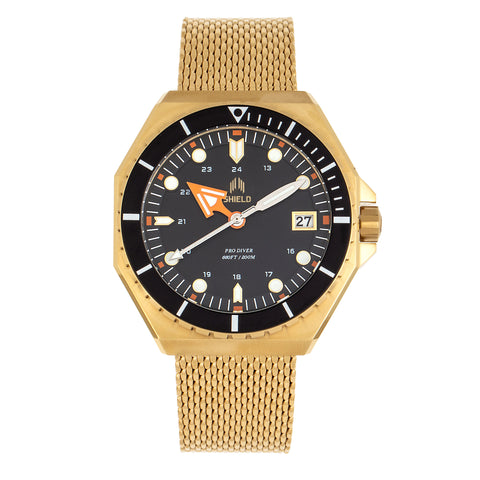 Shield Marius Bracelet Men's Diver Watch w/Date - Gold/Black SLDSH103-5