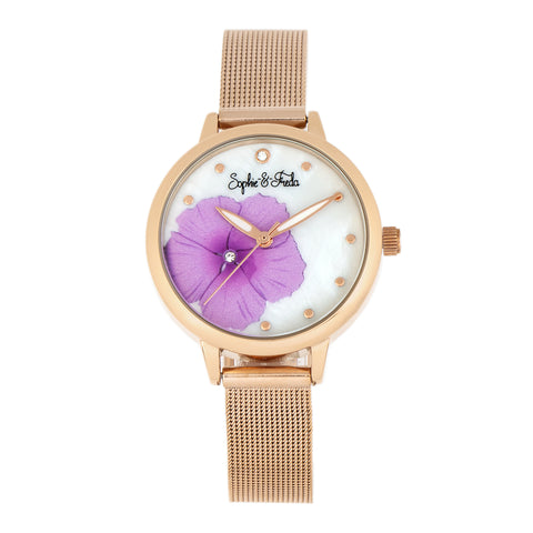 Sophie and Freda Raleigh Mother-Of-Pearl Bracelet Watch w/Swarovski Crystals - Pink SAFSF5705