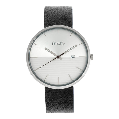 Simplify The 6400 Leather-Band Watch w/Date - Silver SIM6401