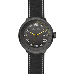 Simplify The 7100 Leather-Band Watch w/Date - Black/Yellow