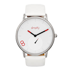 Simplify The 7200 Leather-Band Watch - White