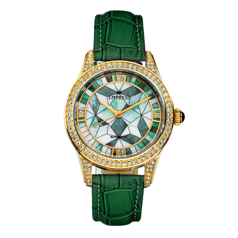 Empress Augusta Automatic Mosaic Mother-of-Pearl Leather-Band Watch - Gold/Green EMPEM3503