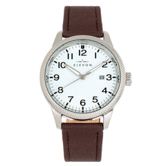 Elevon Bandit Leather-Band Watch w/Date - Brown/White