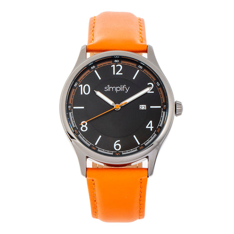 Simplify The 6900 Leather-Band Watch w/ Date - Orange SIM6906