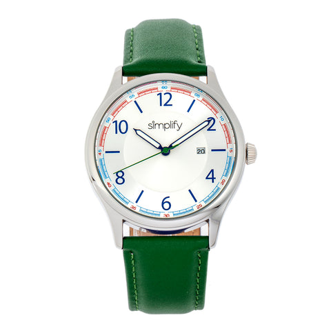 Simplify The 6900 Leather-Band Watch w/ Date - Green SIM6902