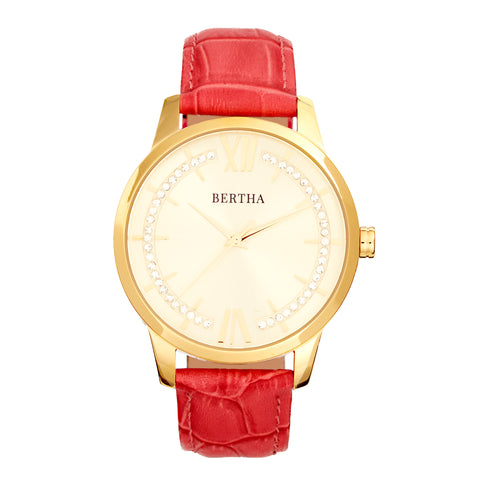 Bertha Prudence Leather-Band Watch - Pink BTHBS1403