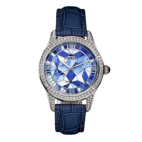 Empress Augusta Automatic Mosaic Mother-of-Pearl Leather-Band Watch - Silver/Blue EMPEM3502