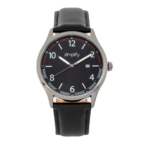 Simplify The 6900 Leather-Band Watch w/ Date - Black SIM6904