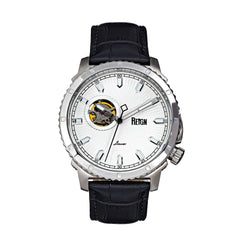 Reign Bauer Automatic Semi-Skeleton Leather-Band Watch - Silver/White