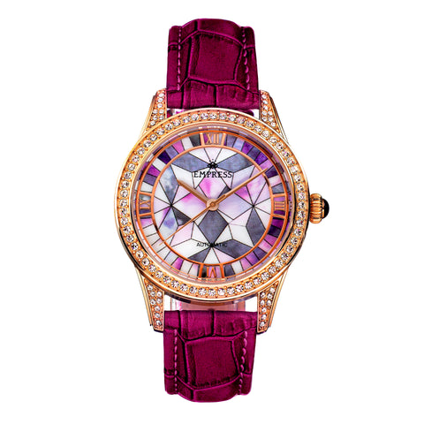 Empress Augusta Automatic Mosaic Mother-of-Pearl Leather-Band Watch - Rose Gold/Fuchsia EMPEM3505