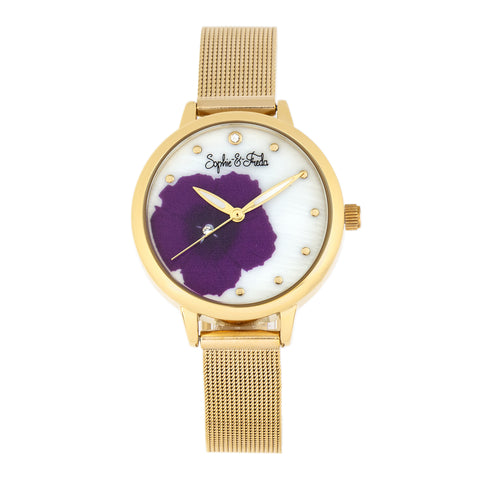 Sophie and Freda Raleigh Mother-Of-Pearl Bracelet Watch w/Swarovski Crystals - Purple SAFSF5704