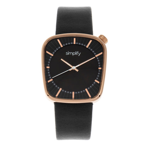 Simplify The 6800 Leather-Band Watch - Rose Gold/Black SIM6803