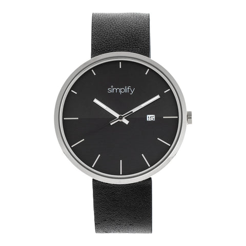 Simplify The 6400 Leather-Band Watch w/Date - Silver/Black SIM6403