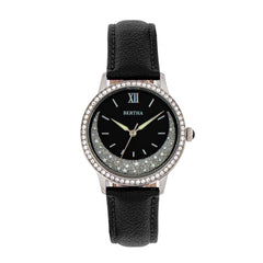 Bertha Dolly Leather-Band Watch - Black