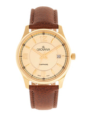 Grovana Swiss Made Sapphire Leather-Band  Men's Watch - Gold/Brown