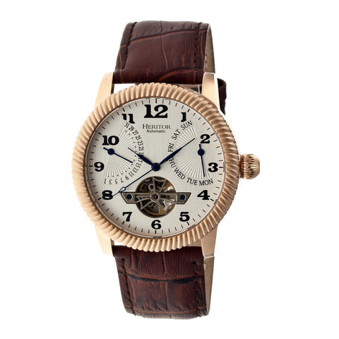 Heritor Automatic Piccard Semi-Skeleton Leather-Band Watch - Rose Gold/Silver HERHR2005